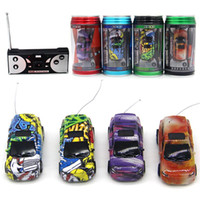 Wholesale Mini Toy Top - Mini RC Racing Car 1:64 Coke Zip-top Pop-top Can 4CH Radio Remote Control Vehicle 9803 LED Light 4 Colors Toys for Kids