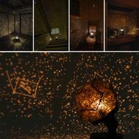 luz da noite da estrela amarela venda por atacado-Luz da noite Girando Lâmpada Romântico Cosmos Belo Presente 3D Céu Projetor Star Master Crianças Estrelado Natal cor Amarela