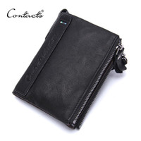 Wholesale Style Ho - Wholesale- CONTACT'S Genuine Leather Organizer Wallets Brand Vintage Cowhide Leather Short Bifold Black Men's Wallet Purse Card Ho
