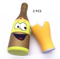 ingrosso giocattolo di bottiglia di birra-22 CM Kawaii Jumbo Squishy Lento Aumento Cartoon Bottiglia di Birra Spremere Dolce Fascino Profumato Carino Pane Torta Giocattolo Del Capretto Regalo Cinghia Del Telefono