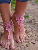 sandalia descalza de encaje al por mayor-Sandalias de encaje descalzas de algodón hechas a mano de ganchillo tobillera Bracelet Beachwear ropa de playa especial Yoga zapatos de baile tobillera para niñas mujeres señoras