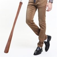 Wholesale china lift - Shoe Lifter Put On Shoes Lifting Device Brown Solid Wood Arts Crafts Mahogany Long Handle Wooden Shoehorn 55 Cm 6 3sc V