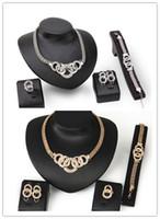 doppelte kreisohrringe großhandel-Mode Pend Glänzende Kristall Doppel Kreis Schmuck Sets Party Gold Anhänger Halskette Ohrringe Set Für Frauen Geschenk HZ