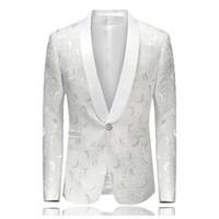 weiße männer kleidjacken großhandel-Weiß Gestickte Rose Floral Smoking Blazer Männer Brautkleider Mens Stage Jacken Für Sänger Mode Blazer Slim Fit M-4XL