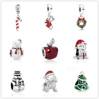Wholesale snowmen jewelry diy for sale - Group buy newest MOQ20pcs european silver christmas gift snowman tree stocking diy loose jewelry bead Fit Pandora Charm Bracelet D013