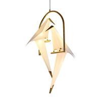 ingrosso vendita di uccelli metallici-Lampada moderna della lampada del Tabel della luce del candeliere della gru di carta per il salone del ristorante Sala da pranzo Camera dei bambini Lampada di pendente di progettazione dell'uccello del LED