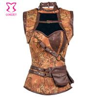 ingrosso giacche per le donne marrone più il formato-Corsetti e bustier disossati in acciaio marrone Steampunk Costume Donna Giacca corsetto sexy Vintage Gothic Abbigliamento Corsetto Plus Size 6XL