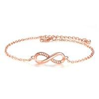 charme armband armbänder zum verkauf großhandel-Heißer Verkauf Armbänder Armreifen für Frauen Beliebte Silber Farbe Endlose Liebe Unendlichkeit Zirkonia Rose gold Modeschmuck