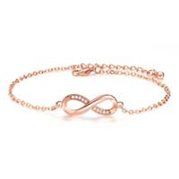 ingrosso monili d'oro infinito-Vendita calda braccialetti braccialetti per le donne popolare argento colore infinito amore infinito cubic zirconia oro rosa gioielli di moda