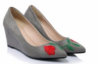 Wholesale new style pumps resale online - New Women Pumps Wedge High Heel Embroider National Style Pointed Toe Platform Summer Flock Wedding shoes