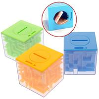 Wholesale Money Puzzles - 3D 3 Color Puzzle Money Bank Case Coin Collection Gift Storage Box Small Children Maze Money Box For Children Intellectual Development