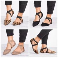 ingrosso sandali in cotone marrone-Womens Flats punta a punta fibbia alla caviglia cinturino scava fuori i sandali moda nero marrone estate all'aperto scarpe LJJG631 10 paia