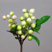 mini fruta artificial al por mayor-Boda 10 Unids / lote Flor Artificial Baya Decorativa Mini Cereza Corta 5 Color Fake Plant Fruit Home Car Decor DIY Decoración de Navidad