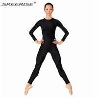 trajes de mujer al por mayor-Mujeres Negro Bodyard Body de manga larga Spandex Lycra Ballet Gimnasia de cuerpo completo Tight Jumpsuit Unitard trajes de baile Unitards
