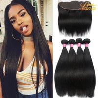 Wholesale Brazilian Virgin Hair Closure - Brazilian Virgin Hair Straight with lace Frontal 4Pcs Ear to Ear Lace Frontal Closure straight Virgin Hair 13x4 Frontal With Bundles Deals