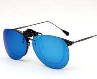 солнцезащитные очки лягушки оптовых-2018 новые ослепительно цветные поляризованные лягушки зеркало клипы очки близорукость большая коробка флип очки клип
