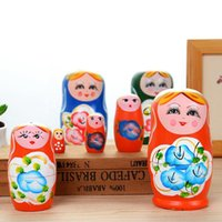 Wholesale russian wood nest dolls for sale - 5pcs set Novelty Russian Nesting Wooden Matryoshka Doll Set Hand Painted Decor Gifts For Kids Home Decoration QW8444