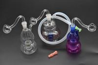 ingrosso silicone tubo flessibile-colorato Mini piattaforma petrolifera Bong Thick Heady Tubo bruciatore a olio in vetro 10mm femmina piccolo tubo per fumare acqua con punta a goccia in silicone
