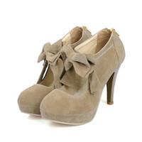 fersen pumpt stiefeletten groihandel-GROßE GRÖSSE: 35-43 Frühling Sommer Bowtie Hochzeit Frauen Stiefeletten Schuhe Mode Sexy Frauen High Heels Pumps Stiefel CZ131