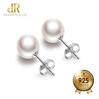 d03b2350e888 DR Wholesale Real de agua dulce perla plata 925 Stud pendientes joyería  fina 8 MM rosa y blanco perlas naturales pendientes para mujeres