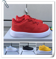 Wholesale girls black school shoes - Eur 22-35 China Flat School Shoe for Boys Girls Children Casual White af1 Leather Shoe Chaussures Pour Enfants