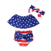 d884b28aa48 Newborn Cute Baby Clothing Set Kids Girl Off Shoulder Strapless Tube Tops  Bloomer Shorts Headband 3pcs Outfits Girl Clothes