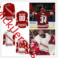 Wholesale college hockey - Custom NCAA Wisconsin Badgers College Hockey Jerseys CHRIS CHELIOS Trent Frederic Cameron Hughes Ryan Wagner Jake Linhart Wisconsin Badgers