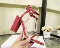 Wholesale high heels red spikes - Rivets Spiked Gladiator High Heel Sandals Stones Studded Flip Sandal Big Size 35-42 Designer Cowhide Women Cheap Shoes 2018 Summer