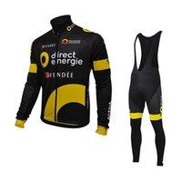 ingrosso moto diretto-Pro tour team Direct Energie ciclismo maglie manica lunga invernale pile caldo abbigliamento bici MTB Ropa ciclismo Bicicletta maillot