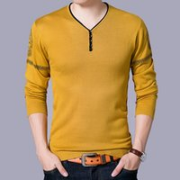 gelber blauer pullover großhandel-Rot gelb blau herren pullover pullover v-ausschnitt herbst winter lässig gestrickte pullover männer slim fit männliche strickwaren jumper mode