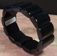 pulsera de jade negro verde al por mayor-Certified Black Green Natural A JADEITE Beads Bracelet Bangle