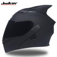 capacete rosto cheio virar venda por atacado-JIEKAI 902 Capacetes da motocicleta Dupla Viseira Modular Flip Up capacete DOT aprovado Full face casque moto racing capacete de Motocross