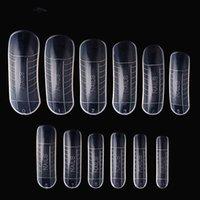 cristales de uñas postizas al por mayor-240 unids / set puntas de uñas falsas cubierta transparente molde de uñas de acrílico tamaño mixto uñas falsas con la herramienta de escala Crystal Nails Nail Art Tools