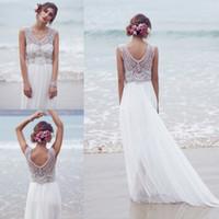 marfim seda praia vestidos de noiva venda por atacado-Sparkly bohemian praia vestidos de noiva 2019 seda chiffon frisada mão bling de cristal vestido de novia branco marfim vestidos de noiva