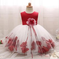 ingrosso vestiti principessa per il primo compleanno-Baby Girl First Birthday Infant Party Dress Princess Flower Little Bridesmaid Gown Toddler Girl battesimo abito battesimo vestiti