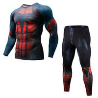 sıkı gömlek 3d toptan satış-Yeni Erkekler Spor Sıkıştırma Setleri Flaş T Shirt 3D Baskılı MMA Crossfit Kas Gömlek Tozluk Baz Katman Sıkı Tops
