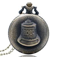 Wholesale Bronze Souvenirs - Vintage Bronze ACDC Hells Bell Quartz Pocket Watch Chain Necklace Men Women Souvenir Gifts Casual Fashion Pendant Clock Relojes de bolsillo