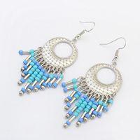 Wholesale earing beads - SUSENSTONE 2017 Fashion Multicolor Boho Vintage Hollow Fringed Bead Long Earring Women Fashion Jewelry Bohemian Earing