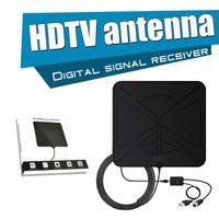 Wholesale Digital Tv Receiver Antenna - Indoor TV HDTV Antenna HDTV Digital Signal Receiver 1080P Amplified Flat 50 Miles Ultra Thin Indoor Detachable Channel Singal Reception 5pcs