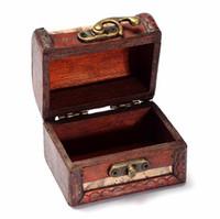 Wholesale wooden box lock wholesale - 2017 Lock Jewelry Treasure Case Handmade Wooden Storage Boxes Bins