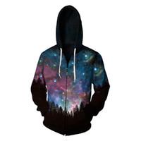 galaxie sweatshirt plus größe großhandel-Männer Harajuku Jacke Galaxy Raum 3D Reißverschluss Hoodie Sweatshirt Unisex Herbst Pulover Outwear Top Plus Größe