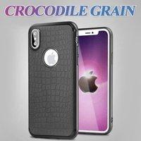 Wholesale Black Car Scratches - Crocodile Grain Tpu Case Car Series For Iphone X 8 7 6 Plus 6S Magnetic Suction Non-Slip Scratch-Resistant For Samsung S8 A7 J7