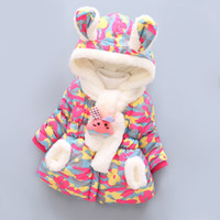 Winter Baby Girls Jacket Infant Toddler Girls Coats Kids Warm Cotton Camouflage Print Outerwear Coat Rabbit Ears Thick Children Clothes