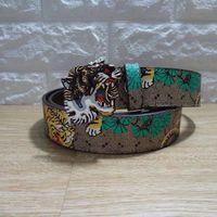 Wholesale wide belt jeans resale online - 2018 Men s Genuine Leather Belts For Men Belt Tiger Head Buckle High Quality Designer Luxury Strap Male Belts Jeans Cintos