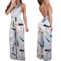 Wholesale wide leg jumpsuit backless for sale – dress Elegant Floral Print Sexy Jumpsuits Summer Style Spaghetti Strap Backless Beach Romper Women Sashes Long Wide Leg Overall