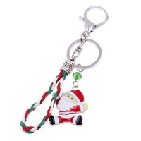 Wholesale crystal reindeer - Christmas Santa Claus Christmas Crystal Beads Reindeer Key Chain Bag Chain Key Ring Special Christmas Gift Free DHL D508S
