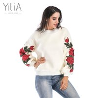 Wholesale Puff Sleeve Sweater White - Yilia Lambswool Cashmere Sweater Women 2017 Winter Oversized Pullover Feminino Vintage Loose Casual Knit Embroidery Puff Sleeves