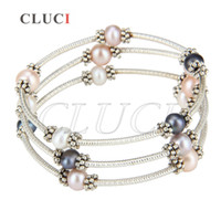 Wholesale White Round Freshwater Pearl Bracelet - CLUCI Fashion Charms of 1 PCS Silver Plated Freshwater Round Colorful Pearl Adjustable Bracelet for Women, free shipping