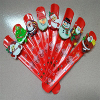 Wholesale clap bracelet resale online - Christmas Clap Bracelet Santa Claus Kawaii Bracelet Christmas Theme Tree Snowman Wrist Band For Kids Best Gifts js ZZ