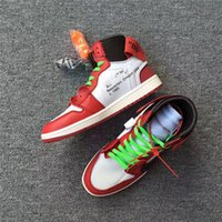 Wholesale Red Tens - The Ten Air Retro 1 X Off Chicago X OFF Man Basketball Shoes Sneakers Red White White Sports Sneaker With Orginal Box